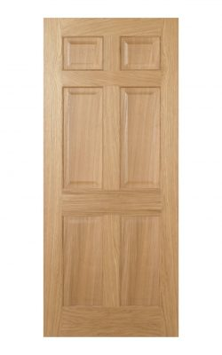 Regency Pre-Finished Oak 6 panel Internal Fire Door - Imperial Size