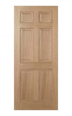 Regency Unfinished Oak 6 panel Internal Fire Door - Imperial Size