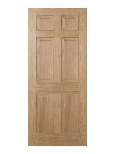 Regency Unfinished Oak 6 panel Internal Fire Door - Imperial Size