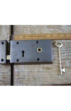 "Right Hand Steel and Brass Rim Lock 5""/3"""