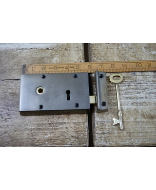 "Left Hand Steel and Brass Rim Lock 5""/3"""