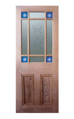 Victorian Pitch Pine Starburst Glazed Internal Door