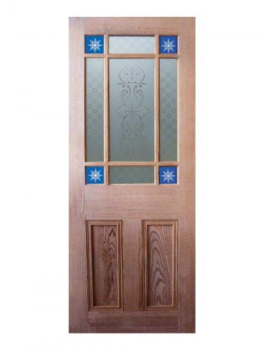 Victorian Pitch Pine Starburst Glazed Internal Door
