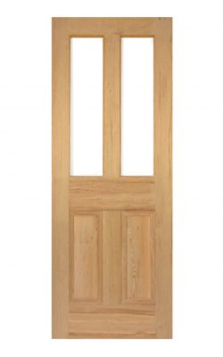Victorian Pitch Pine Four Panel Customised Glazed Internal Door