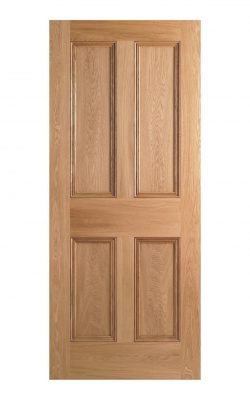 LPD Victorian Oak Four Panel FD30 Fire Door