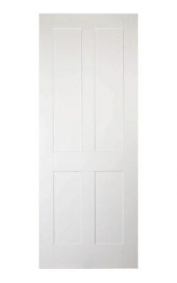 'Victorian' Shaker Four Panel White Primed Internal Door