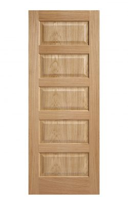 Pre-Finished Oak- Contemporary 5 panel Internal Door