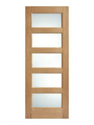 Pre-Finished Oak- Contemporary 5 panel Frosted Glazed Internal Door