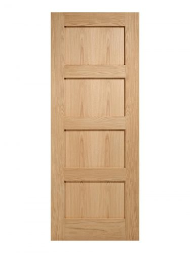 Unfinished Oak- Contemporary 4 panel Internal Door - Metric Size