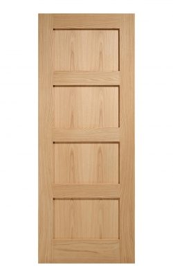 Unfinished Oak- Contemporary 4 panel Internal Fire Door - Metric Size