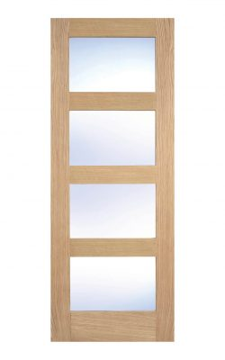 Unfinished Oak- Contemporary 4 panel Internal Clear Glazed Door - Metric Size