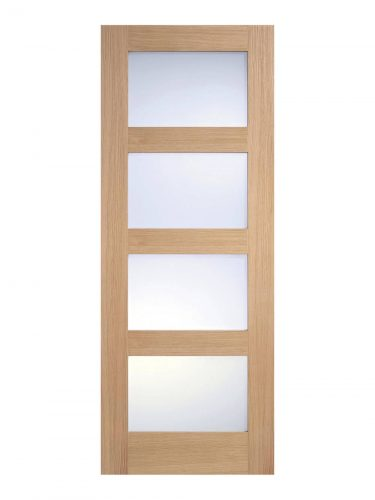 Unfinished Oak- Contemporary 4 panel Internal Frosted Glazed Door - Metric Size