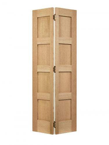 Unfinished Oak Contemporary Four Panel Bi-fold Internal Door