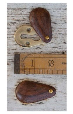 Peardrop Teak Brass Escutcheon 50mm