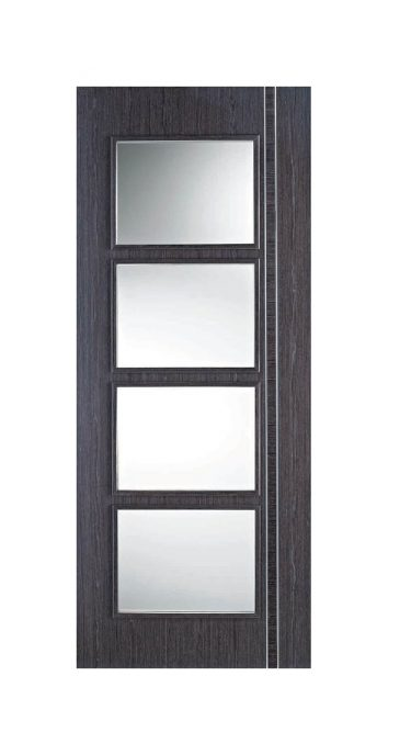 Zanzibar Ash Grey pre-finished Internal Clear Glazed Door