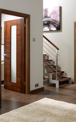 LPD Walnut Vancouver 5 Panel FD30 Fire Door - Imperial