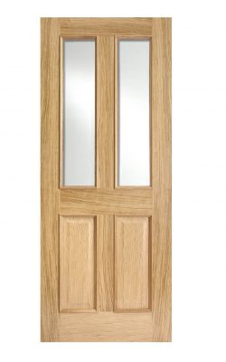 FD30 Fire Door Oak Richmond 2-light Glazed with Raised Mouldings