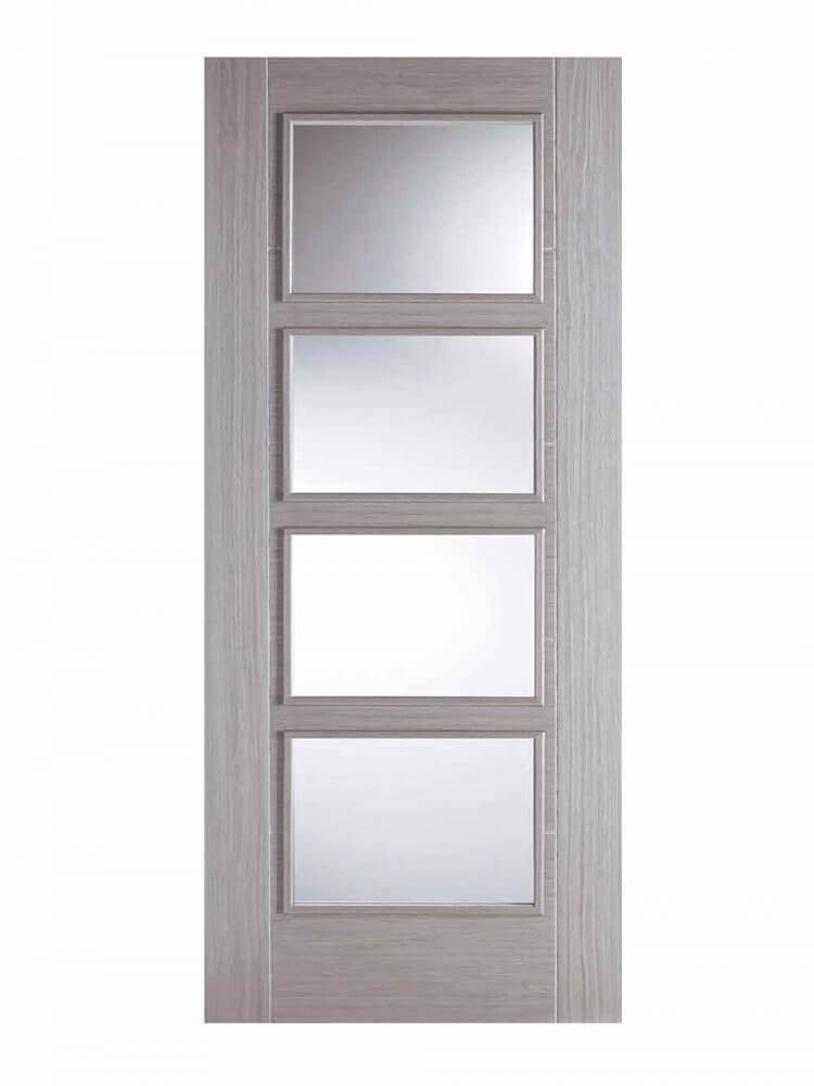 Light Grey Vancouver 4 Light Fd30 Fire Door Four Clear Vision Panels