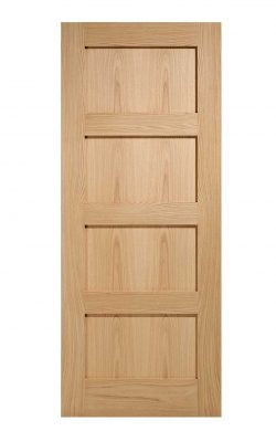 Oak Contemporary 4P Pre-Finished FD30 Fire Door