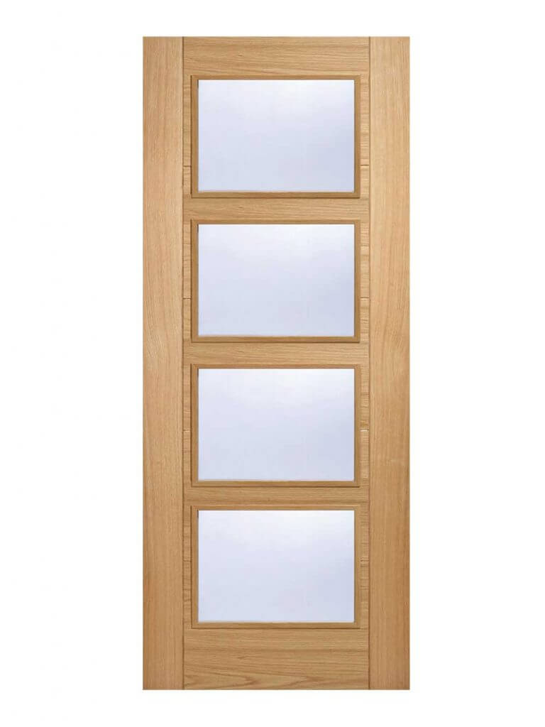 Oak Vancouver Glazed 4 Light FD30 Fire Door.