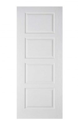 White Moulded Contemporary 4P FD30 Fire Door.