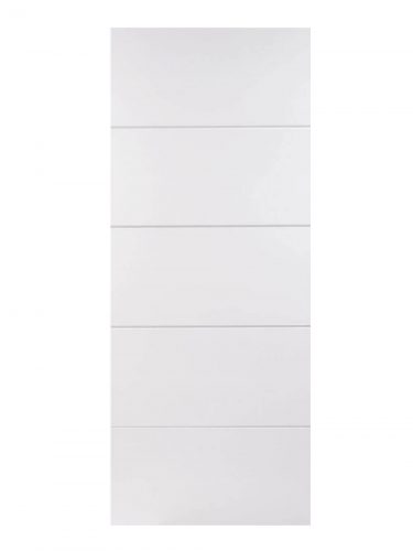 White Moulded Horizontal Four Line FD30 Fire Door.
