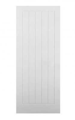 White Moulded Textured Vertical 5P FD30 Fire Door.