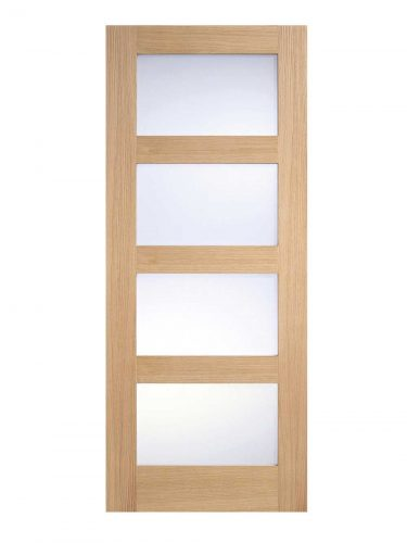 LPD Oak Contemporary Internal Glazed Door 4L Frosted Pre-Finished