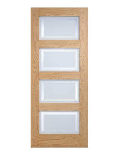 LPD Oak Contemporary Internal Glazed Door 4L Silkscreen