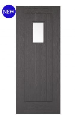 LPD Charcoal Grey Embossed Suffolk 1L External Glazed DoorLPD Charcoal Grey Embossed Suffolk 1L External Glazed Door