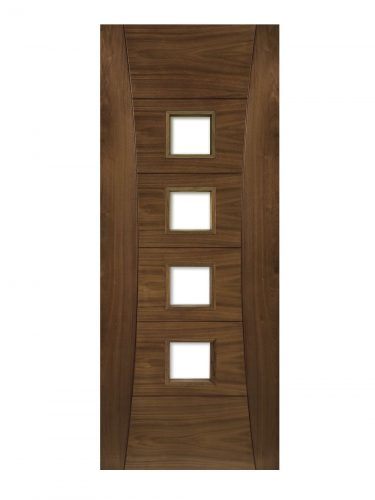 Deanta Pamplona Prefinished Walnut Glazed FD30 Fire Door