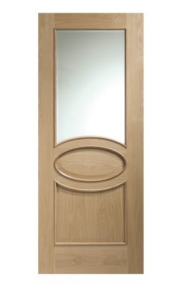 XL Joinery Calabria Internal Oak Door with Clear Bevelled Glass and Raised MouldingsXL Joinery Calabria Internal Oak Door with Clear Bevelled Glass and Raised Mouldings