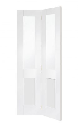 XL Joinery Malton Shaker Internal White Primed Clear Glazed Bi-fold Internal DoorXL Joinery Malton Shaker Internal White Primed Clear Glazed Bi-fold Internal Door