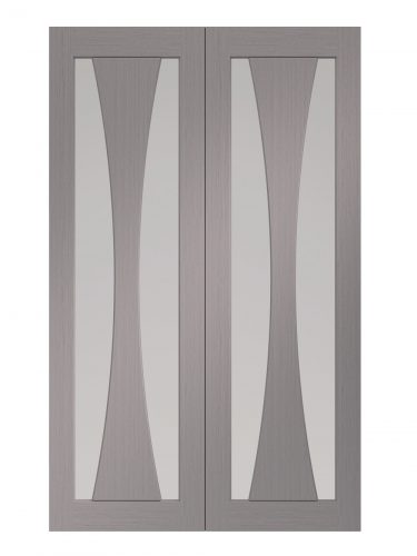 XL Joinery Verona Pre-Finished Light Grey Internal Clear Glazed Door Pair