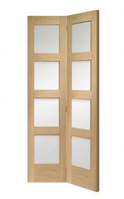 XL Joinery Shaker Bi-Fold Internal Oak Door with Clear GlassXL Joinery Shaker Bi-Fold Internal Oak Door with Clear Glass