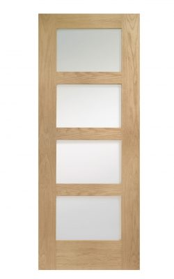 XL Joinery Shaker 4 Light  Oak Clear Internal Glazed DoorXL Joinery Shaker 4 Light  Oak Clear Internal Glazed Door