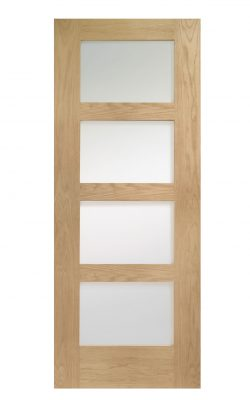 XL Joinery Shaker 4 Light Oak Clear Internal Glazed Door Fire DoorXL Joinery Shaker 4 Light Oak Clear Internal Glazed Door Fire Door