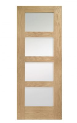 XL Joinery Shaker 4 Light Pre-Finished Internal Oak Door with Clear GlassXL Joinery Shaker 4 Light Pre-Finished Internal Oak Door with Clear Glass
