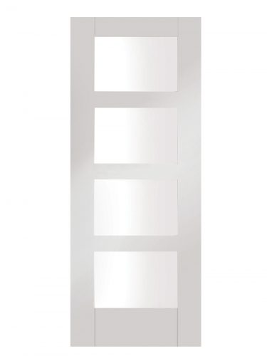 XL Joinery Shaker 4 Light White Primed Clear Internal Glazed Door